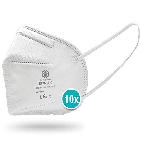 Atemschutzmaske ohne Ventil FFP2, CE-zertifiziert und in EU zugelassen, FFP2 Maske 4-lagig mit 95% Filtration, angenehme flexible Bänder, 10 Masken jeweils einzeln verpackt