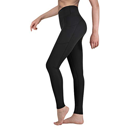Occffy Sporthose Damen Yogahose Fitnesshose Laufhose Yoga Tights Sport Leggings für Damen mit Taschen P107 (Schwarz, S)