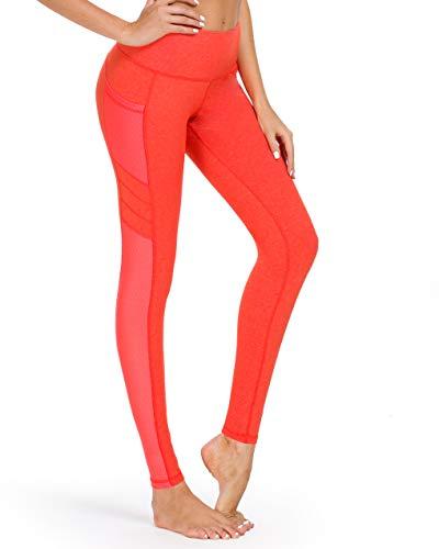Mincc Damen Yoga-Hose, Herzform, Stretch, hohe Taille, Fitness-Leggings, einfarbig Gr. S, D Orange