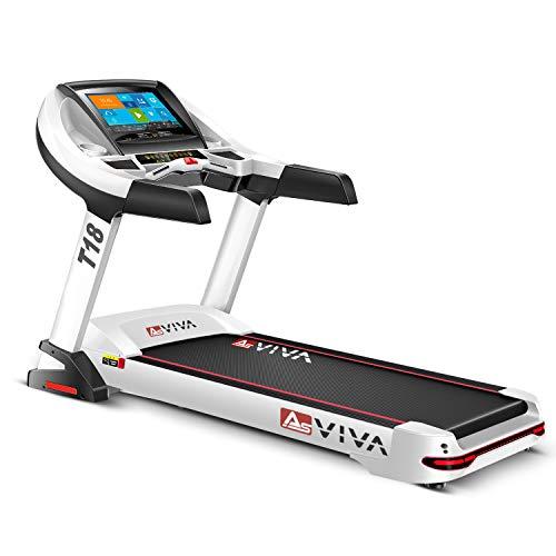 "AsVIVA Laufband T18 Pro WiFi kompatibel - Heimtrainer mit 15,6"" Touchscreen Android-Computer, 15% Steigung elektronisch, 7PS Motor bis 20km/h, Pulsempfänger inkl. Brustgurt | klappbar"
