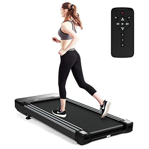 COSTWAY Elektrisches Walking Laufband, Laufband unter Schreibtisch, mit LED-Touchdisplay & Funkfernbedienung, 3 Trainingsmodi & 12 Programme, 0,8 – 6 km/h, Schwarz
