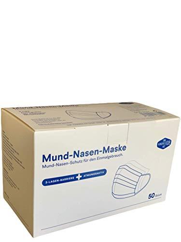 TÜV geprüfte Mundschutz Gesichtsmaske, Mund-Nasen-Schutzmaske, 50 Stück   Atemschutzmaske für den Einmalgebrauch, 3-lagig, (5 x 10 Stück)