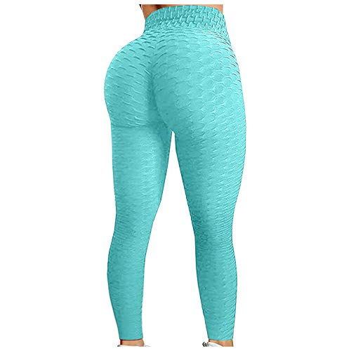 Clacce Workout Leggings Damen Push Up Tight Scrunch Butt Sporthose Blickdicht Fitnessleggings mit Hohe Taille kompressionsleggings für Yoga Jogging Sport Workout Freizeit (S, Minzgrün)