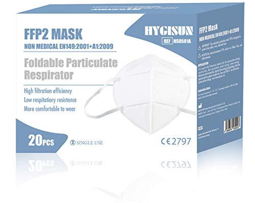 HYGISUN Faltbare Staubschutzmaske FFP2 Atemschutzmaske 20 Stück