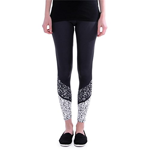 cosey Sports Line - Yoga und Fitness-Leggings - Workout schwarz-weiß