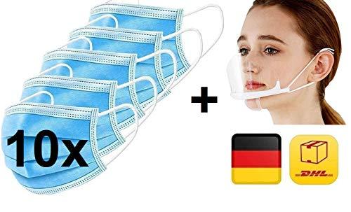 10x Mundschutz + 1x Kunststoff-Visier-Gesichtsschutz Gratis, 10er Pack, Einweg 3-lagig Gummizug Atemschutzmaske Staubschutz Maske EN14683, Hersteller BOSSN @ DECADE