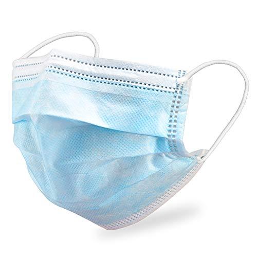 AXHKIO 100 Stück 3-lagige Einwegmasken, Atemschutzmasken Gesichtsmaske mit Ohrschlaufen, Atmungsaktive Ohrmuschel-Gesichtsmaske,3 Schichten Masken