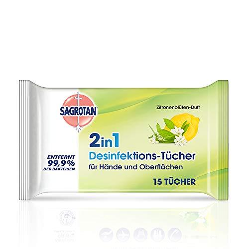 Sagrotan 2in1 Desinfektionstücher mit Zitronenblüten-Duft – Zum Desinfizieren von Händen und Oberflächen – 1 x 15 Feuchttücher in wiederverschließbarer Verpackung
