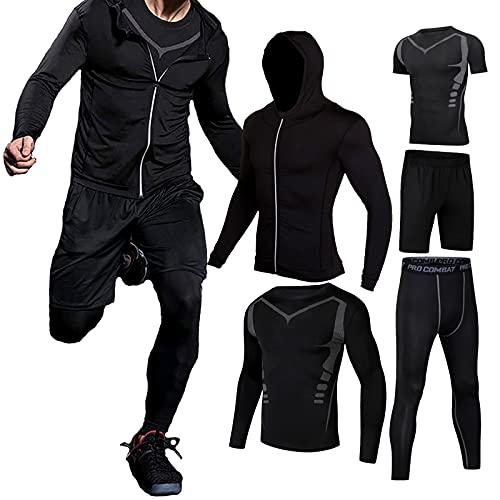 Männer Workout Kleidung Outfit Fitness Bekleidung Fitnessstudio Outdoor Laufen Kompressionshose Shirt Top Langarm Jacke 4PCS oder 5pcs schwarz L