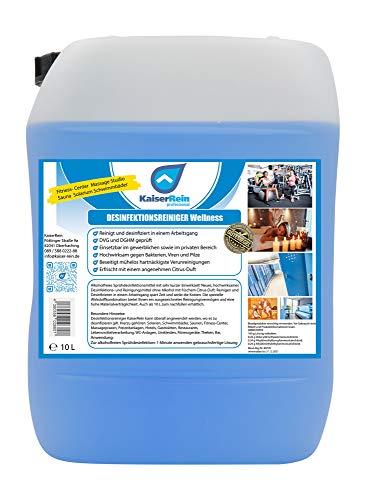 Desinfektionsreiniger Wellness/Spa 10 L Kanister zur Reinigung und Desinfektion besonders für Solarium Sauna-, Yogamatten-, Fitnessgeräte-, Massageliegenreiniger Nachfüllkanister