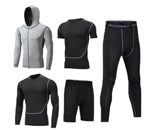 Hellomiko Mens Fitness Gym Kleidung Set, Sport Laufen Yoga Wear Übung Kleidung 3/5 Pcs