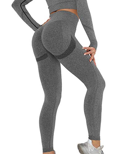 SLIMBELLE Damen Sport Leggings Push Up Yogahosen Hohe Taille Scrunch Booty Leggins Sexy Nahtlos Sporthose Blickdicht Fitnessleggings Slim Fit Jogginghose Seamless Lange Laufhose für Gym Yoga Workout