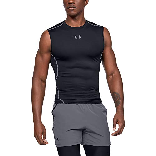 Under Armour UA HeatGear ARMOUR Sleeveless, ärmelloses Funktionsshirt, komfortables Tank Top mit Kompressionspassform Herren, Black / Steel , S