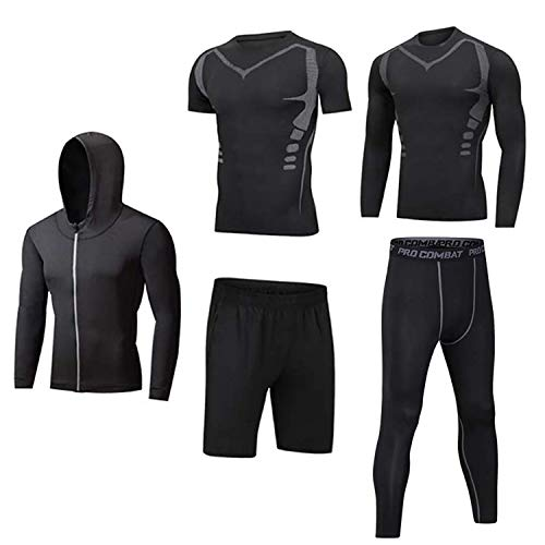 Männer Workout Kleidung Outfit Fitness Bekleidung Fitnessstudio Outdoor Laufen Kompressionshose Shirt Top Langarm Jacke 4PCS oder 5pcs schwar L