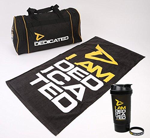 Elemental Force Dedicated Nutrition Profi-Set Gym Fitness Sporttasche + Handtuch + Shaker + Armband Bodybuilding Gymtasche Trainingshandtuch