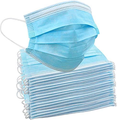 50 Einweg-Gesichtsmasken   Schützende Mund-Nasen-Bedeckung mit 3-lagigem Mundschutz, elastischem Gummizug und bequemem Universaldesign für Erwachsene und Kinder