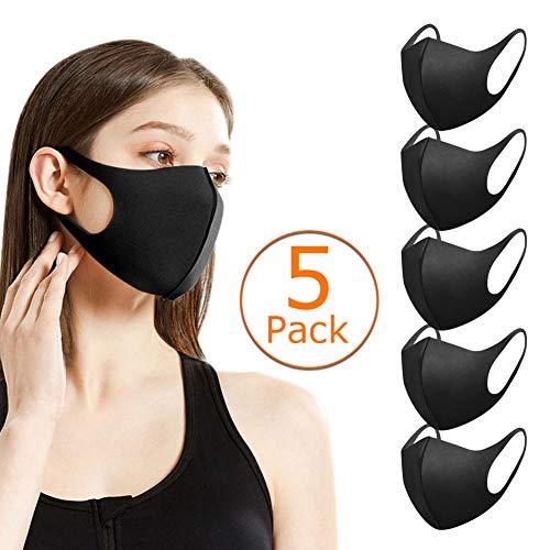 5 Stück Schutzmaske, Masken Mundschutz, Kälteschutz Gesichtsmaske, Unisex Baumwoll Masken, Mode Waschbare Wiederverwendbar Maske, Mundschutz Anti-Beschlag Anti-Staub Maske für Radfahren, Schwarz