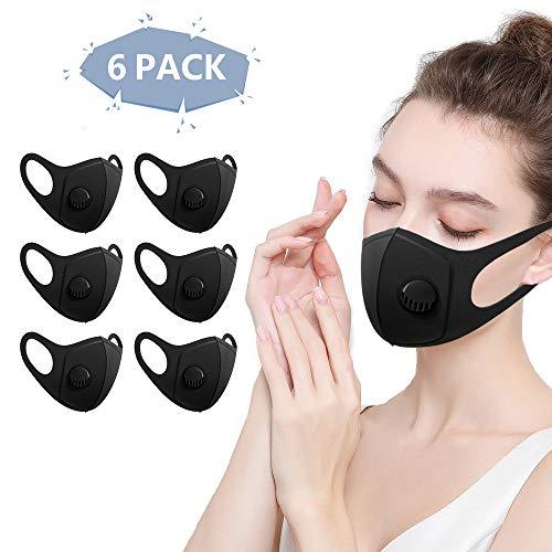 6 Stück Mundmaske mit Filter, Staubmasken, Wiederverwendbar, Waschbar, Atemschutzmaske für Laufen, Radfahren, Outdoor-Aktivitäten mit Atemventil