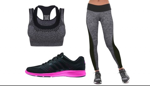 GYM STYLE INSPITATION – Modisches Fitnessoutfit in Grau/Schwarz
